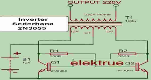 Contoh Rangkaian Inverter Sederhana 2N3055