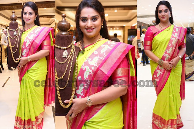 Pavitra Lokesh Neon Green Pink Silk Saree
