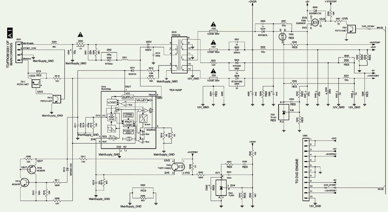 philips magnavox – 32st220p – 27pt543 – tv – power supply ... 65 pontiac wiring diagram magnavox wiring diagram