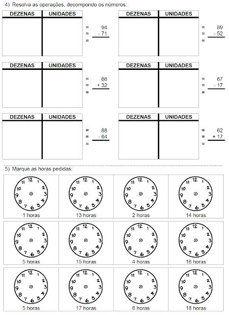 Atividades - Ideia da divisão, Gráfico, Operações e Horas - página 2
