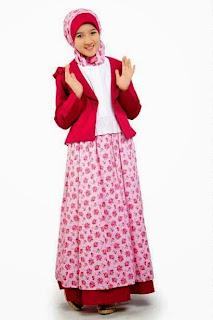 Model Baju Gamis Muslim Anak Perempuan Merah