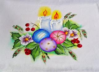 pintura em tecido velas de natal e bolas