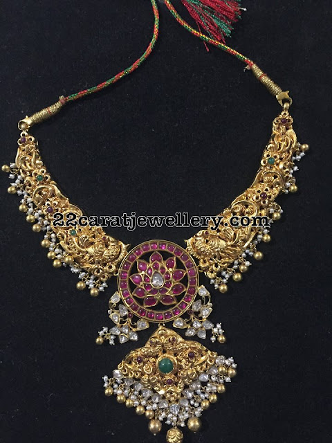 Peacock Nakshi Necklace with Pearls