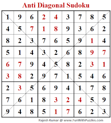 Answer of Anti Diagonal Sudoku Puzzle (Fun With Sudoku #345)