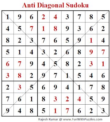 Answer of Anti Diagonal Sudoku Puzzle (Fun With Sudoku #345)