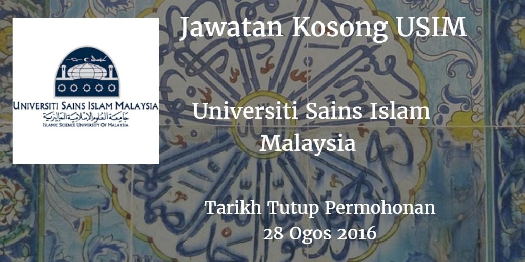 Jawatan Kosong USIM 28 Ogos 2016