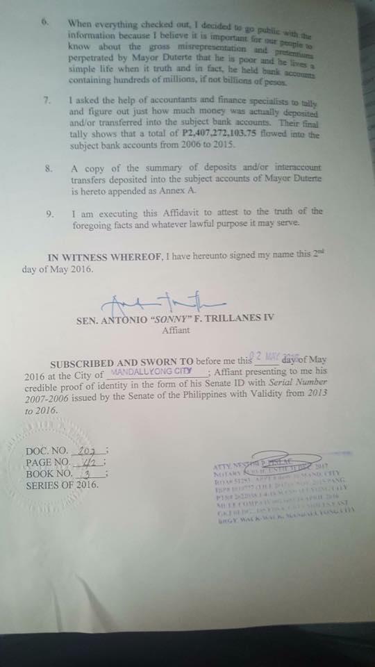 Trillanes affidavit