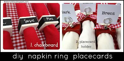 diy wood napking ring placecards