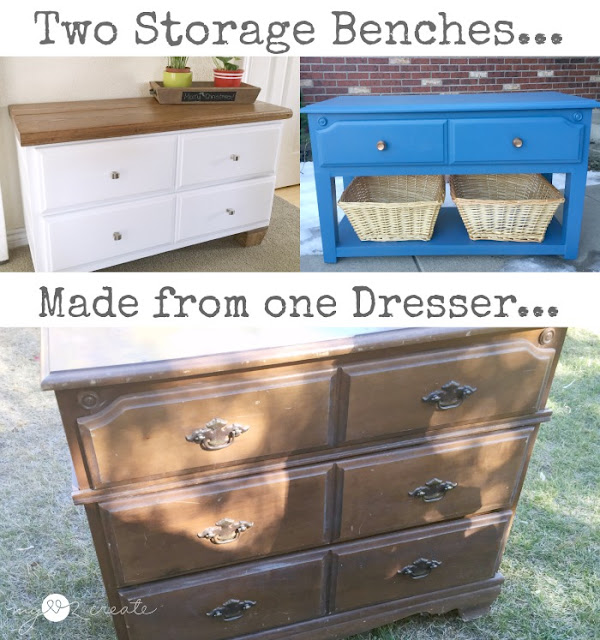 two storage benches from one dresser