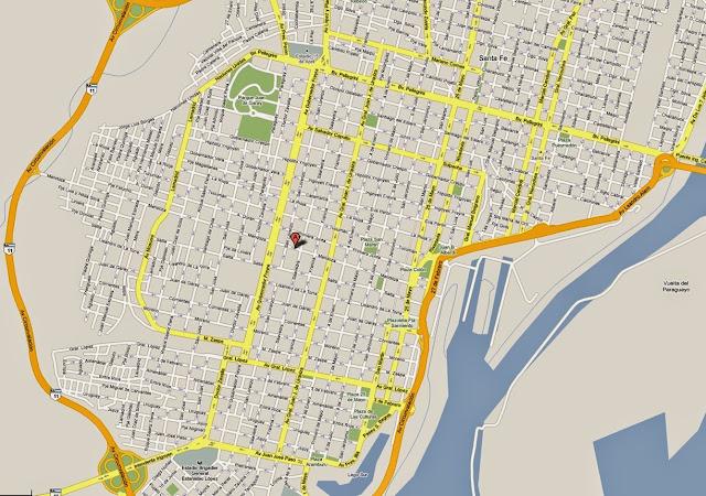 Mapa da cidade de Santa Fé - Argentina
