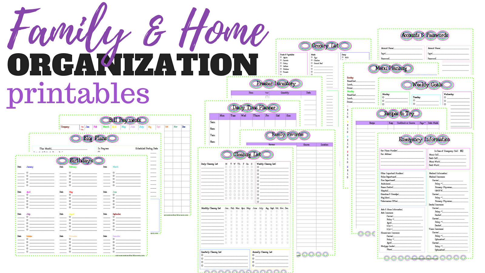 Family And Home Organization Binder Printables