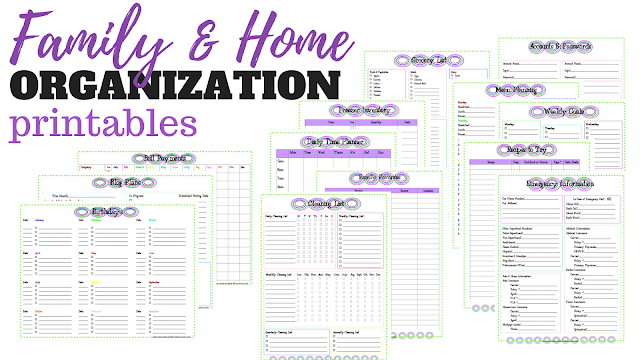 Free downloadable family and home organization binder printables for menu planning, finance, important documents, birthdays, cleaning