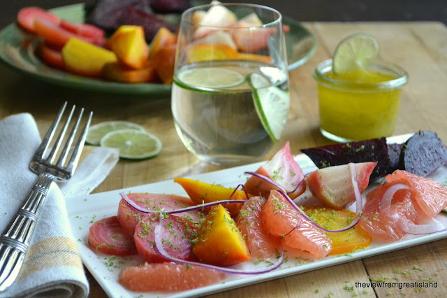 Healthy and low calorie Grapefruit and Roasted Beet Salad is as beautiful as it is delicious!
