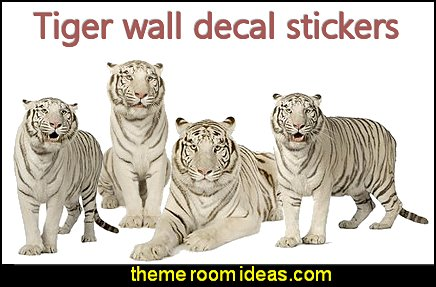 White Tiger Wall Decals  wild animal print bedroom decor  - leopard print decorating ideas- giraffe print - zebra print - cheetah bedroom decor - wild animal print decorating  - leopard print decor - leopard print walls -  tiger wall decal