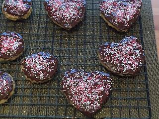 Valentine's Choc Chip Shortbread Biscuits decorated