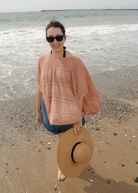 style, Samantha Chic, Forever 21, floppy hat, straw hat, wayfarer sunglasses, ray-ban, LC Lauren Conrad, Lauren Conrad, beach, California, ZARA, a-line skirt, denim skirt, poncho, cover-up, swimsuit