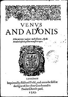 First work published under the name William Shakespeare, 1593