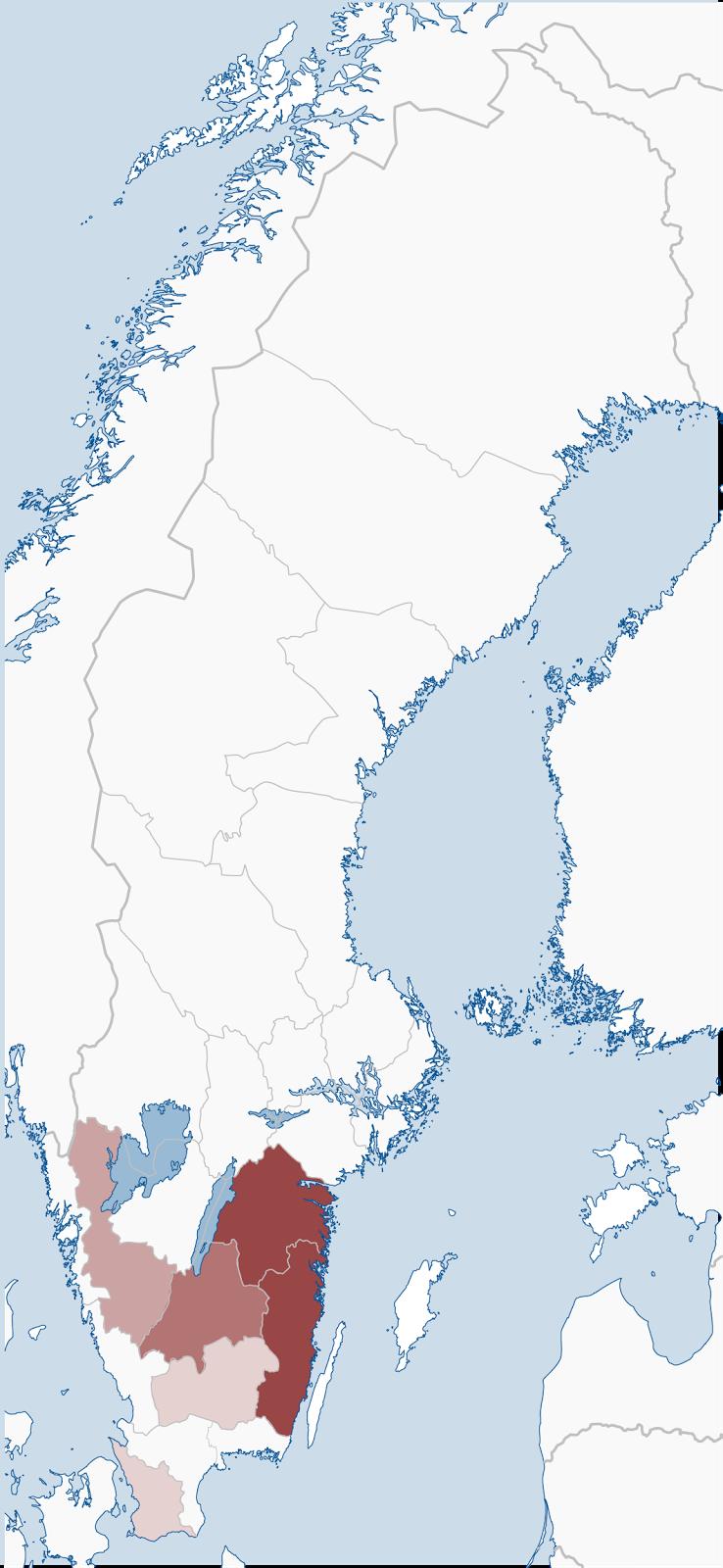 Jamestown Swedes Swedish Origins - Sweden map län