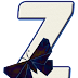 Abecedario con Mariposas Azul Oscuro. Alphabet with Dark Blue Butterflies.