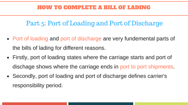 How to complete a bill of lading | Port of Loading