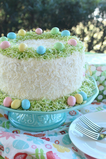 Easter Lemon Coconut Cream Cake by LoveandConfections.com