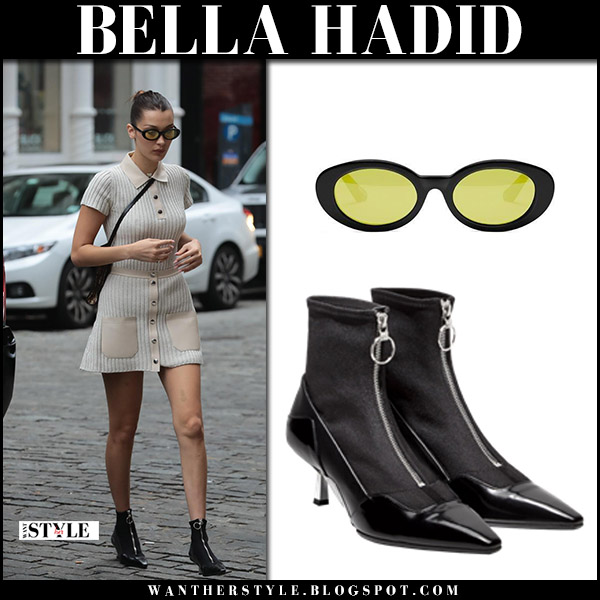 Bella Hadid in beige mini dress, black zip-up ankle boots with yellow lens sunglasses elizabeth and james october 11 2017 street fashion