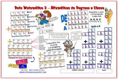 Alfamética, Criptoaritmética, Criptosuma, Alfametica de regreso a clases, Alfamética de vuelta al colegio, Juego de letras, Juego de palabras, Retos Matemáticos, Desafíos Matemáticos, Problemas Matemáticos