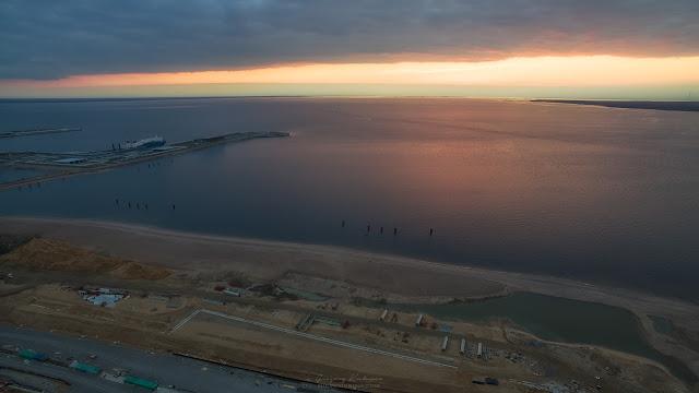 Репортаж строительства Западного Скоростного Диаметра (ЗСД) в Санкт-Петербурге. Съемки с воздуха.