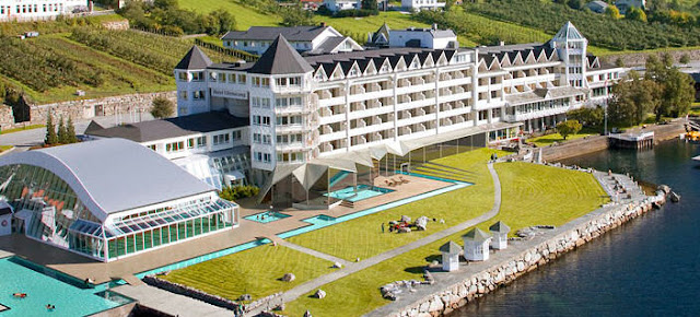 Along the shores of the Hardangerfjord is where we'll hang our heads that night at the Hotel Ullensvang—renowned as one of Norway's finest fjord resorts. Photo: Courtesy of Ullensvang Hotel.