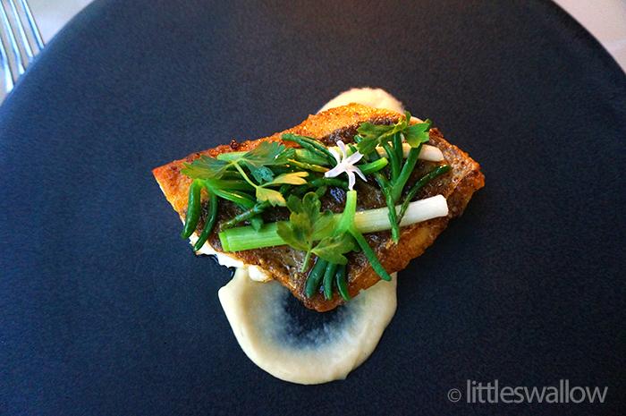 Bennelong, Sydney: Wild Cape York barramundi lemon puree, samphire, young leek native parsley, karkalla, umami butter