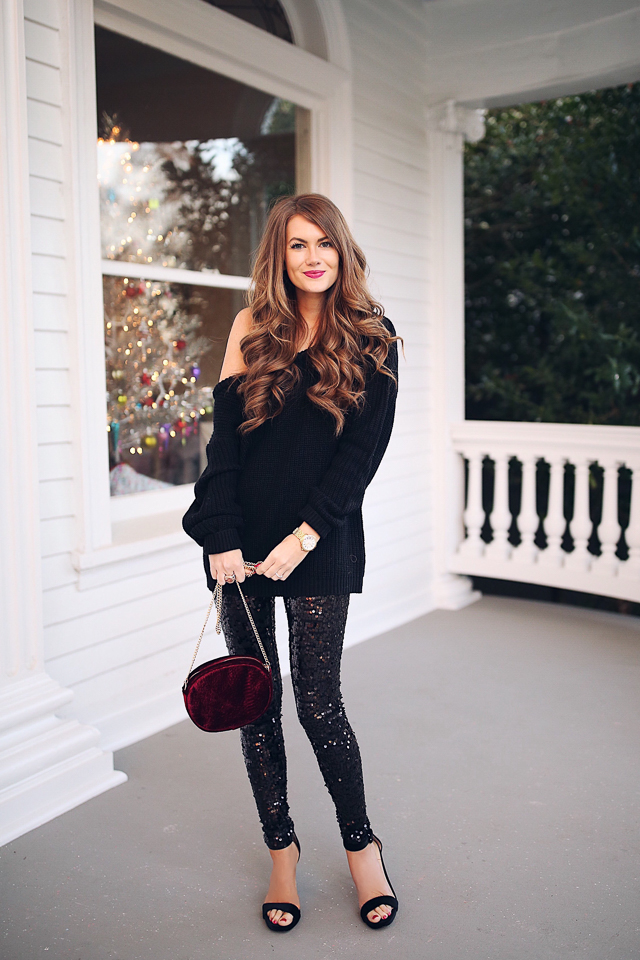 Southern Curls Amp Pearls Sequin Leggings Holiday Outfit