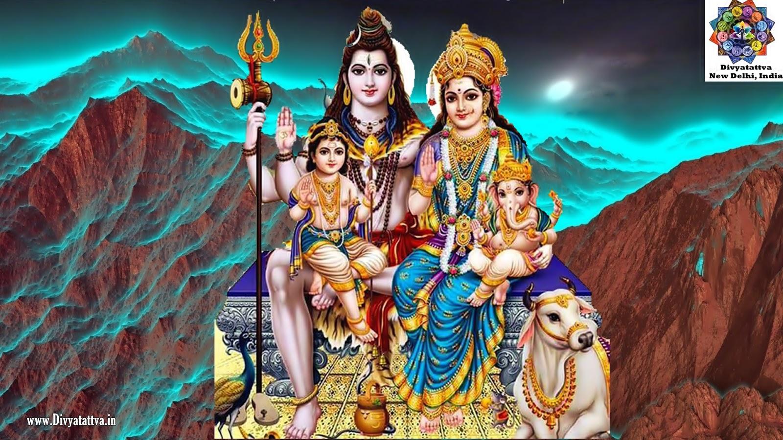 shiva parvati kartikeya ganesha parivar hd wallpaper www.divyatattva.in