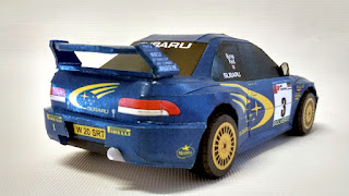 Paper craft rally car model rear view