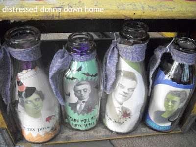 quick makeovers, milk bottles, Halloween decor, vintage photos