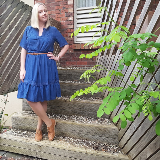 crossroads blue midi dress | Almost Posh
