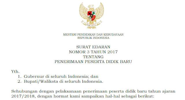 Peraturan Terbaru Tentang PPDB Sesuai SE Mendikbud No 3 Tahun 2017
