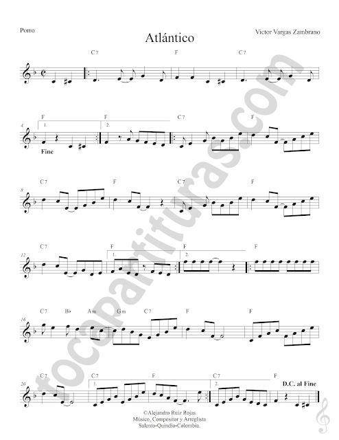 Atlántico Porro de Victor Vargas Zambrano Partitura Fácil con Acordes Atlántico Easy Sheet Music with Chords