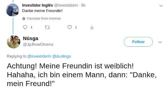 Gafe no Twitter em alemão