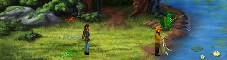 Finn contempla como pescan un hombre y una tortuga antropomorfa.