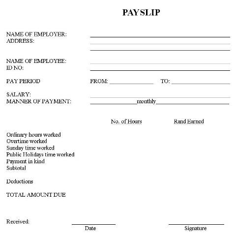 Interesting Pay Slip Template Example With Table Format For Earnings - microsoft payslip template