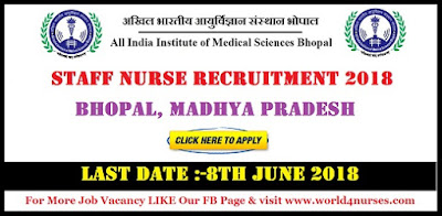 AIIMS Bhopal Staff Nurse Recruitment 2018 Govt Nursing Jobs in Madhya Pradesh