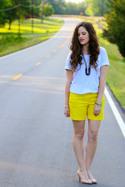 Nyc fashion blogger Kathleen Harper showing how to wear shorts with heels