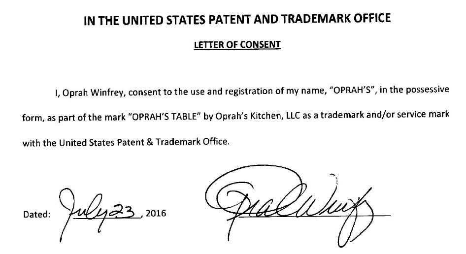 oprahs consent to register these marks required under 15 usc 1052c was submitted with the applications see above see also tmep 1206
