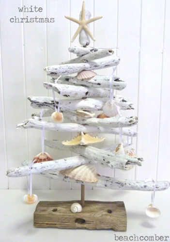 white painted driftwood Christmas tree