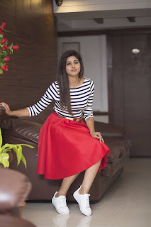 Varshini Sounderajan Long Legs Show In Mini Red Skirt (6)