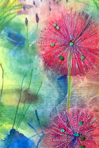 Stitched Watercolours: Allium Flowers at Windsor Gardens, Penarth