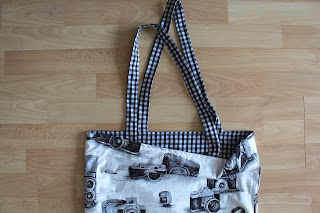 f4b735f6ace9 My second bag for sale is this quirky vintage camera print and gingham  reversible tote bag!