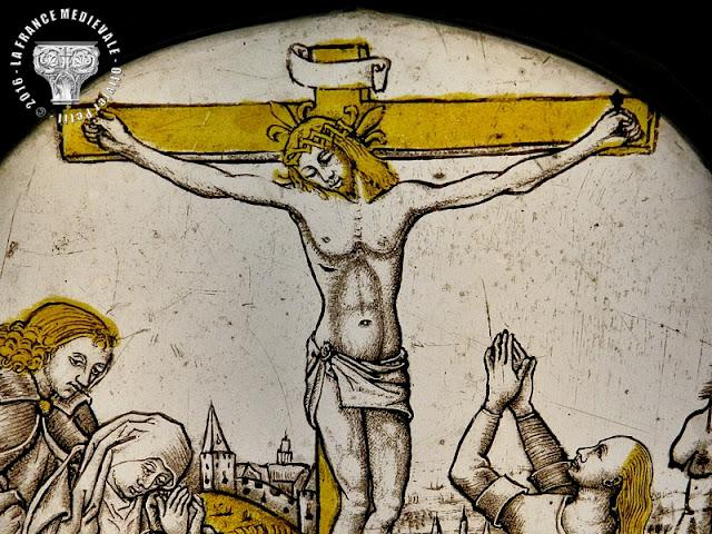 DIJON (21) - Musée des Beaux Arts : Vitrail - Crucifixion - XVe siècle
