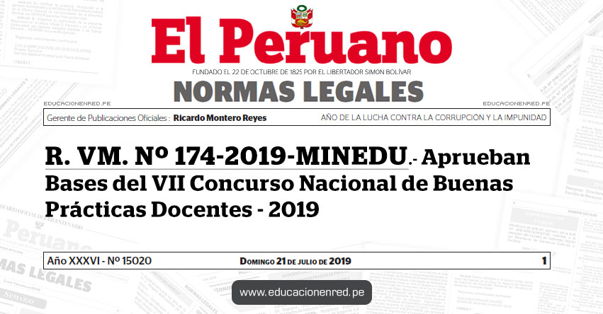 R. VM. Nº 174-2019-MINEDU - Aprueban Bases del VII Concurso Nacional de Buenas Prácticas Docentes - 2019 - www.minedu.gob.pe