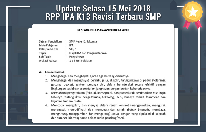 Update Selasa 15 Mei 2018 RPP IPA K13 Revisi Terbaru SMP